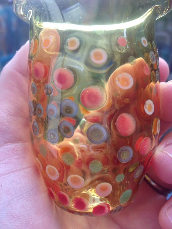 glass cup with polka dots by Israeli glass artist