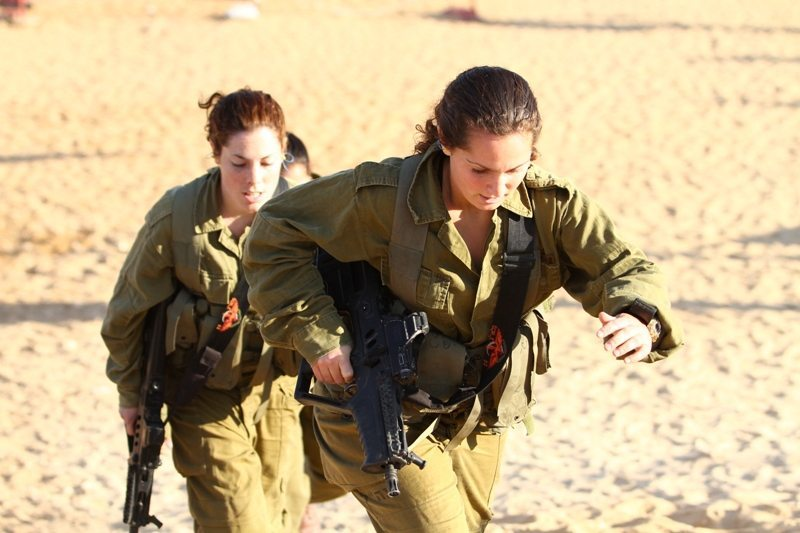 female soldiers train at the Israel Defense Forces' military training
