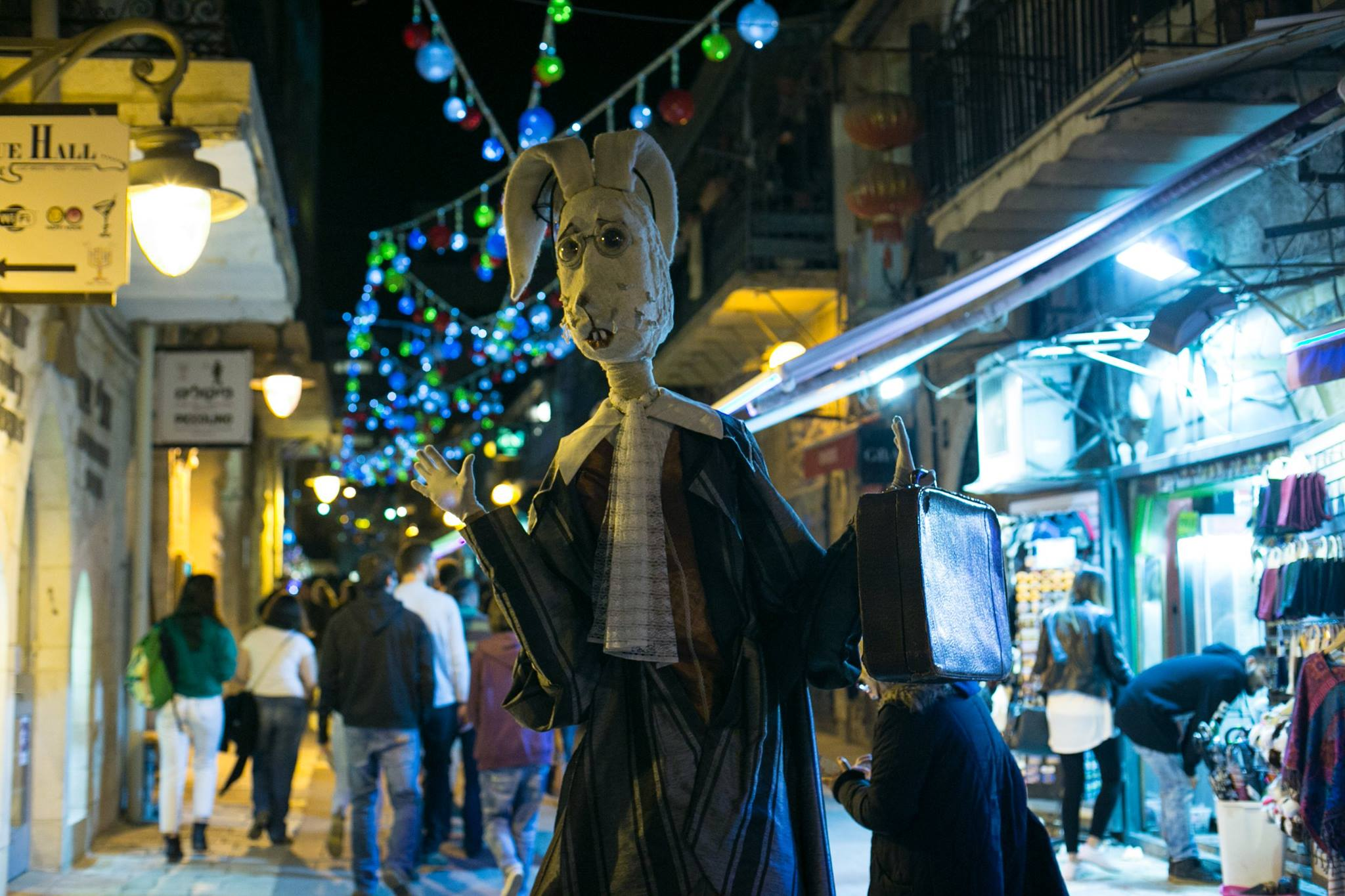 Handmade costume worn by performer at Shaon Horef winter street festival in Jerusalem