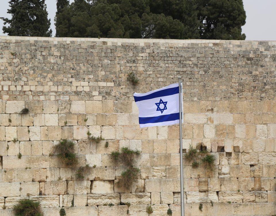 israel flag by the western wall to convey israel's aspiration to build the next holy temple