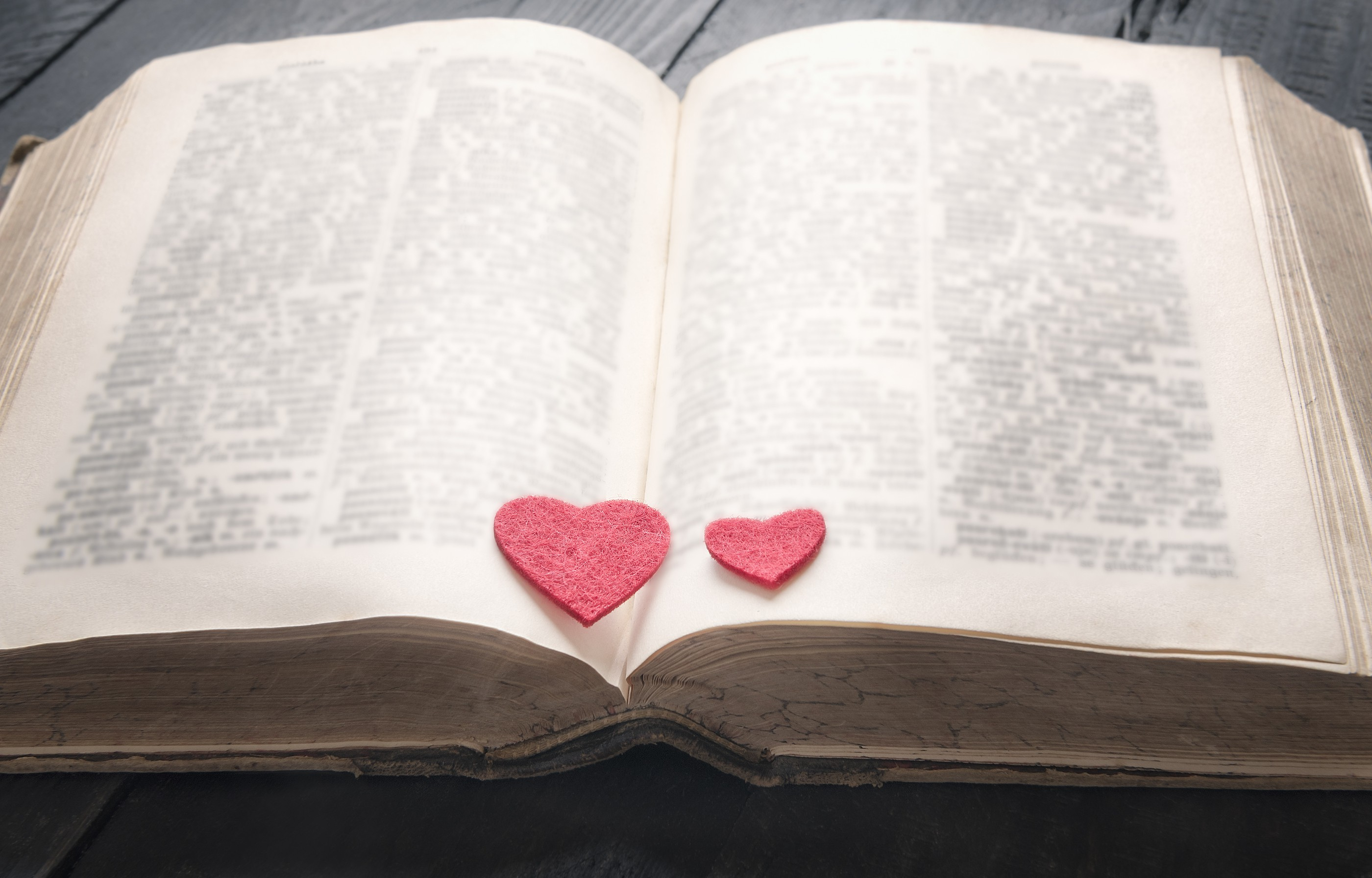 an old open book with hearts in the middle to display that the torah has a love story where Tu Bav originated from