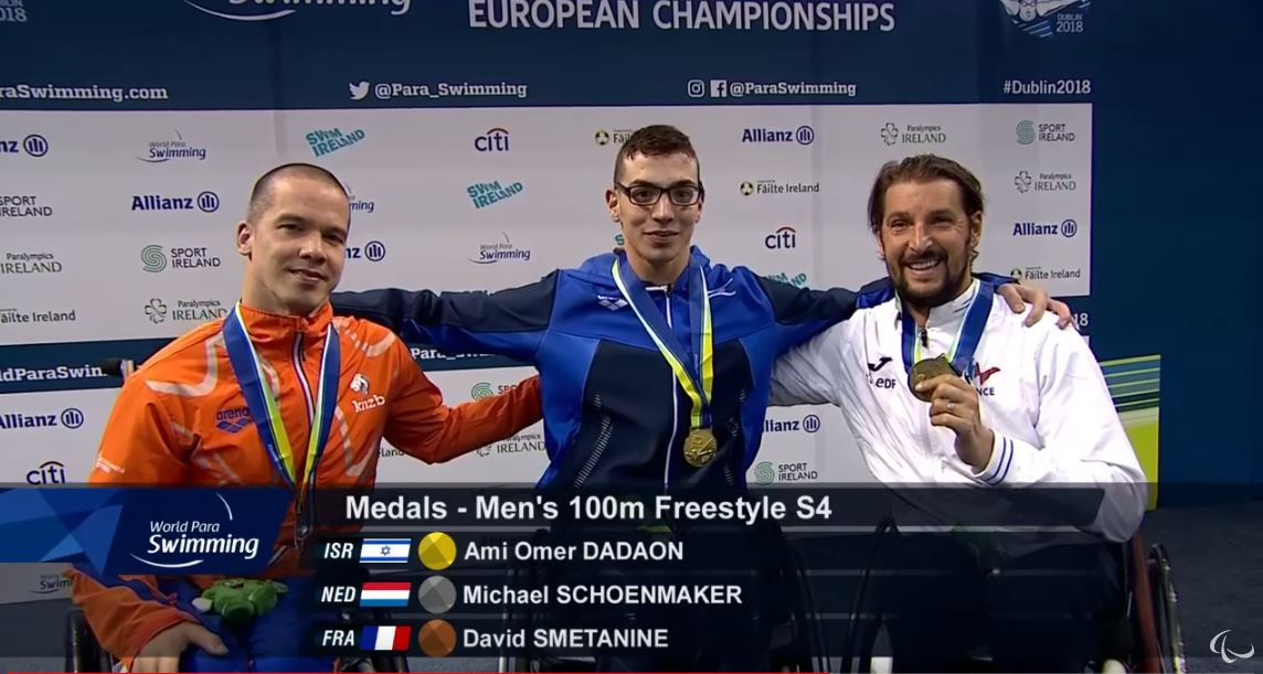 ami dadaon wins first place and the gold medal for the 100m men's freestyle para swimming European championship- another win for israel