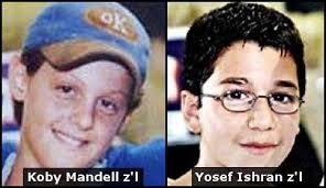 koby mandell and yosef ishran who were murdered in 2001 by terrorists in Israel