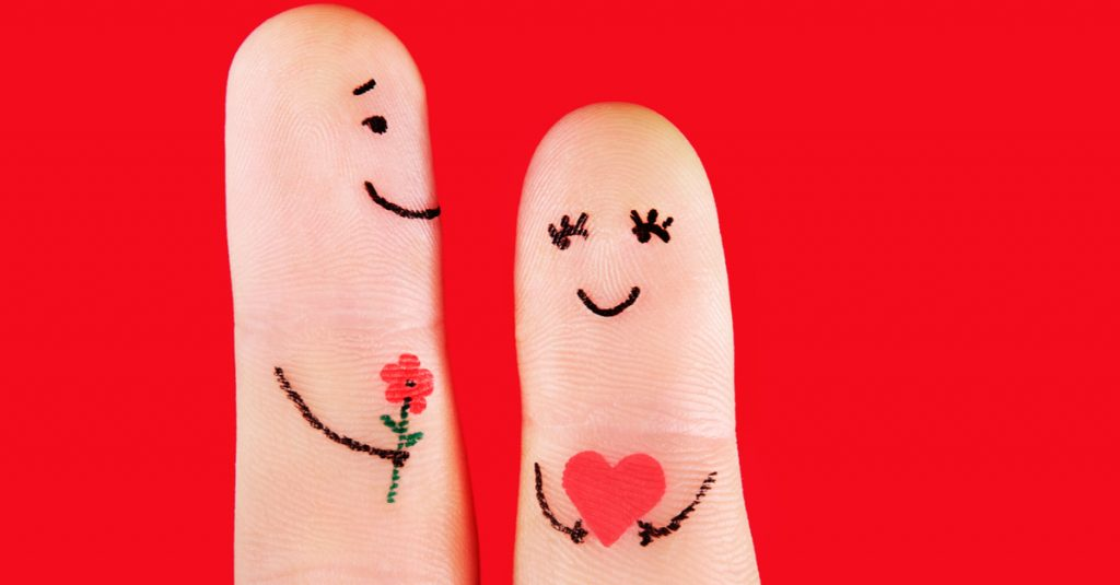 two fingers with faces show their love for each other a yom kippur example for love