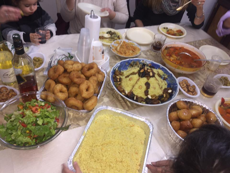 israeli table with moroccan dishes